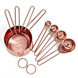 TOOGOO Rose gold Stainless Steel Measuring Cups and Spoons set of 8 Engraved Measurements,Pouring Spouts & Mirror Polished for Baking and Cooking
