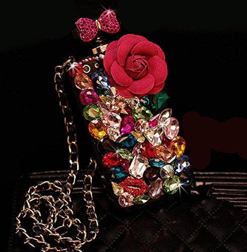 For iPhone7 Plus/iPhone8 Plus Case, Omio Perfume Bottle Shell 3D Luxury Glitter Colorful Crystal Diamond Rhinestone Chain Flower Bling Bowknot Shiny Lip Cover For Apple iPhone 7 Plus/iPhone 8 Plus