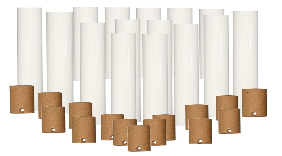 Set of 15 pc. 2 Inch Tall White Candelabra Base Thin 3/4'' Inner Diameter Chandelier Socket Cover Plus Cardboard Paper Insulator by Lighthouse Industries