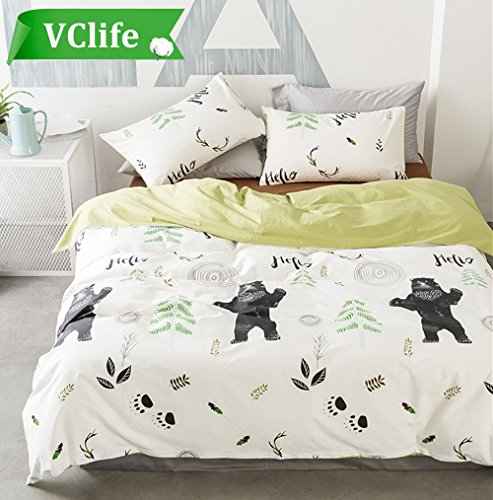 Cotton Bedding Sets Kids Teens Tree Bear Print Home Comforter Cover Sets Reversible Soft Bedding Quilts Cover Sets-Hypoallergenic, Durable, Lightweight, 3 PCS Home Bedding Collection, Full/Queen (Bedding In A Bag Full Forest)