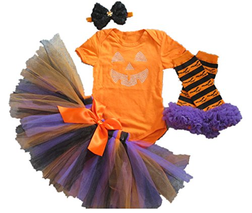(AISHIONY Baby Girl 1st Halloween Tutu Outfit Newborn Orange Dress 4PCS)