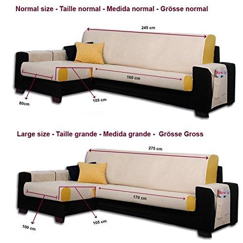 275 cm. Farbe Grau Gr/össe Gross JM Textil Schoner f/ür Ecksofa mit Larissa Ottomane Links