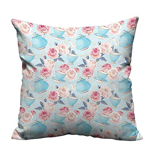 YouXianHome Decorative Throw Pillow Case ROS Vintage Teapot Cups Leav Blue Backdrop Baby Blue and Light Pink Ideal Decoration(Double-Sided Printing) 19.5x26 inch