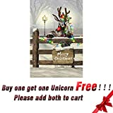 OFILA Vinyl 3x5ft Photography Christmas Backdrop Lovely Reindeer Colored Lights Decors Wood Fence Winter Snow Children Baby Kids Portraits Video Studio Props