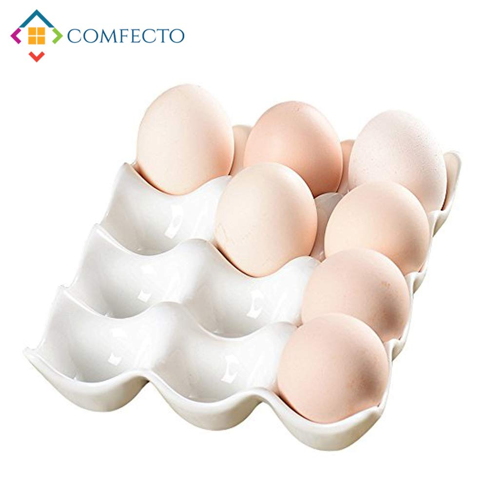 COMFECTO Egg Tray Holder, 12 Cup Large Egg Holder Kitchen Storage Fridge Organizer Decorative Crate for Jewelry Charm Beads, White Ceramic Heat Resistant in 1.77 Inch Hole Diameter