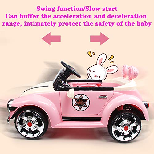 DUTUI Children's Electric Car, Four-Wheeled Car, Girl Can Remote Control and Rechargeable Toy Car, Baby Swing Stroller Can Sit on People, 102X56x49cm