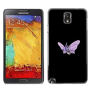 Caucho caso de Shell duro de la cubierta de accesorios de protección BY RAYDREAMMM - Samsung Note 3 N9000 - Meter Monstruo púrpura de la mariposa