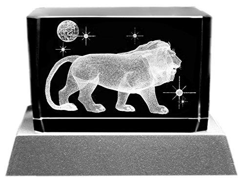 Kaltner Präsente Stimmungslicht - Ein ganz besonderes Geschenk: LED Kerze / Kristall Glasblock / 3D-Laser-Gravur Motiv Tiere LÖWE