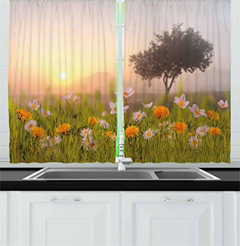 - Ambesonne Nature Kitchen Curtains, Daisy Flowers Meadow with Tree Background in Mist Ecp Garden Botany Fresh Scenery, Window Drapes 2 Panels Set for Kitchen Cafe, 55 W X 39 L Inches, Multicolor