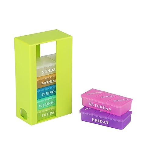 Morepack 28 Compartimentos Pastillero Semanal para Grande, Mediano, Pequeño, Pastilla, Vitamina,