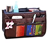 JET-BOND(TM) XB001 Nylon Handbag Insert Pouch Organizer Large Liner Purse with Zippers Handles Multi-function Cosmetic Storage Foldable Tote Inner Bag (Coffee)