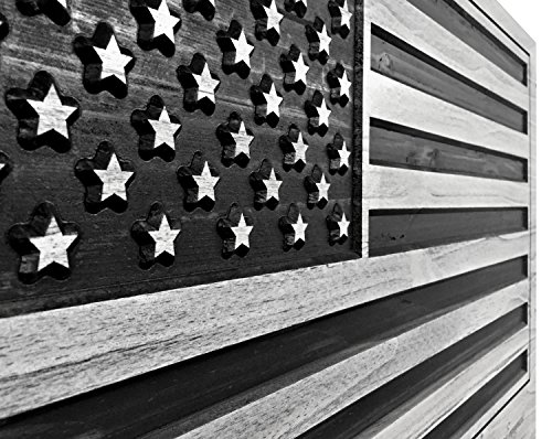 (US Flag, American Flag Art, Wood Wall Art, Flag for United States, USA, Patriotic Decor, Veteran's Day, Military Gift Idea, Rustic, Wooden Flag, 3D Art, Carved)