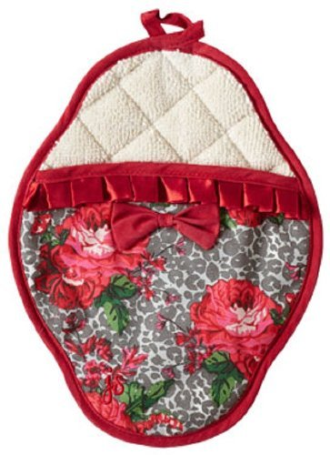 Jessie Steele Leopard Floral Scalloped Pot Mitt with Trim