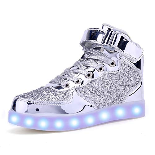 AoSiFu Kids LED Light Up Shoes Breathable Kids Girls Boys Breathable Flashing Sneakers as Gift Silver26]()