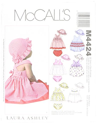 McCall#039s Patterns M4424OSZ M4424 Infants#039 Dresses Rompers Panties and Hat