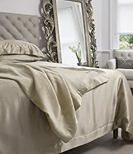 Jasmine Silk - Sábana de seda para cama de matrimonio (180 x 230 cm), color beige