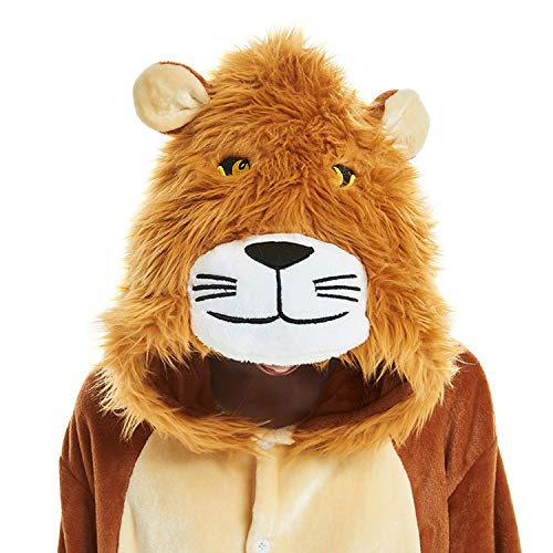 FORLADY Unisex Adult Cosplay Costumes Jumpsuit Animal Lion Pajamas Brown -
