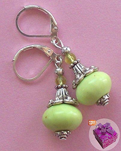 Lime Howlite Peridot Crystal Daffodil Cap Earring Sp Leverback Handcrafted Rhinestone Earrings For Women Set + Gift Box For - Crystal Pin Lime
