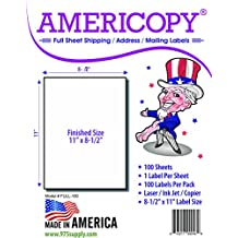 """Full Sheet Labels - Americopy - Shipping / Mailing Labels - 8-1/2"""" x 11"""" Labels - MADE IN THE USA (100 Labels)"""