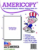 Full Sheet Labels - Americopy - Shipping / Mailing Labels - 8-1/2'' x 11'' Labels - MADE IN THE USA (100 Labels)