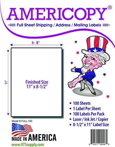 Full Sheet Labels - Americopy - Shipping / Mailing Labels - 8-1/2