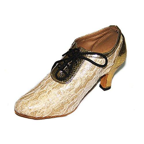 Tda Femmes Bout Rond À Lacets Appliques Synthétiques Salsa Tango Samba Rumba Chaussures De Danse Latine Moderne Noir-6cm Talon