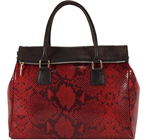 Borsa Donna in pelle stampa pitone colore rosso made in Italy