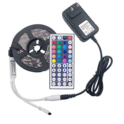 LED Strip Light RiRiWon 16.4ft Flexible Remote Control RGB LED Tape Light Multi Color Changing LED Ribbon Kit Christmas Indoor Decoration light with 44Keys IR Remote Controller and 12V Power Adapter