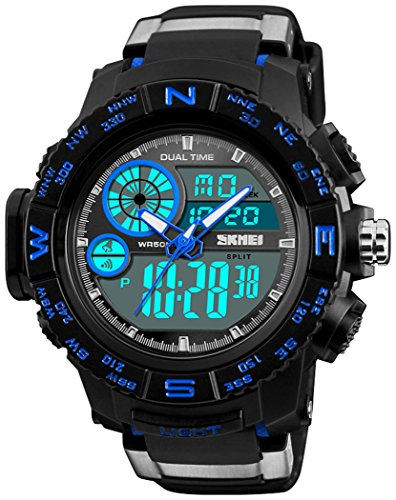 Men's Military Digital Wrist Watches Multi-Function 50M Waterproof Dual Time Countdown Alarm Stopwatch Sports Watch (S Blue)