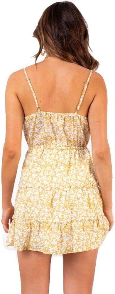 HZD V Neck Spaghetti Short Boho Dress Women Summer Girl Holiday Party Dress Female Floral Print Beach Yellow