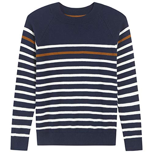 Adory Sweety Tops Sweater for Kids Baby Boy Toddler Soft &Cute Crew Neck Stripe Long Sleeve Pullover (Blue, ()