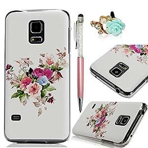 BestCool 1x Plástico Funda para Samsung Galaxy S5 Mini G800 (No para S5 ) Case de PC Transparente Cubierta de Duro Caso de Pintado de las Coloridas Flores Diseño & 1 x 3.5mm Tapón Antipolvo & 1 x Lápiz óptico