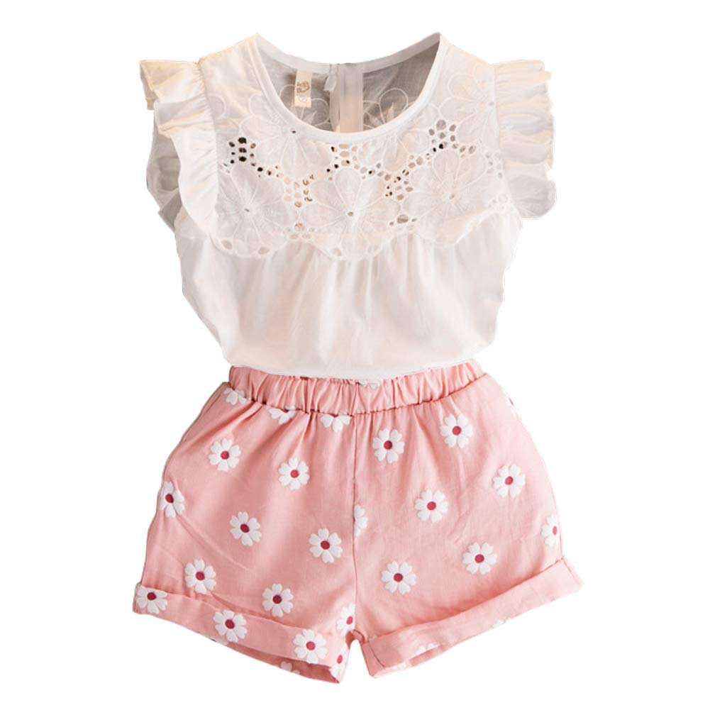 2PCS Set Toddler Kids Baby Girls Outfits Clothes T-Shirt Vest Tops+Shorts Pants(2-6 T)