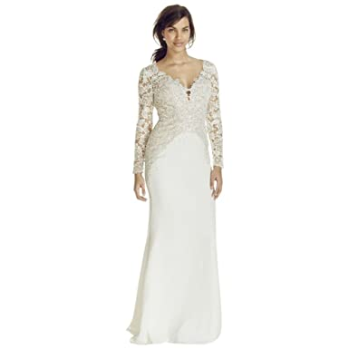 Sample: As-is Long Sleeve Beaded Lace Plunge Neckline Gown Style ...