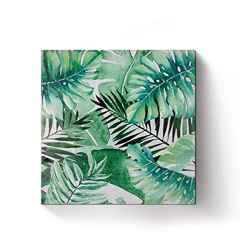 Banana Palm Wall Art - Monstera Palm Banana Hand Painted Art Wall Decor Tropical Plants Canvas Stretched and Framed Ready to Hang 12x12in