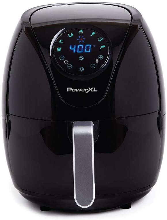PowerXL Air Fryer 4 QT Maxx, Special Edition 2021, Extra Hot Air Fry, Cook, Crisp, Broil, Roast, Bake, High Gloss Finish, Black (4 Quart)