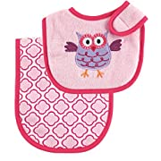 Luvable Friends Bib and Burp Cloth Set, Pink Owl