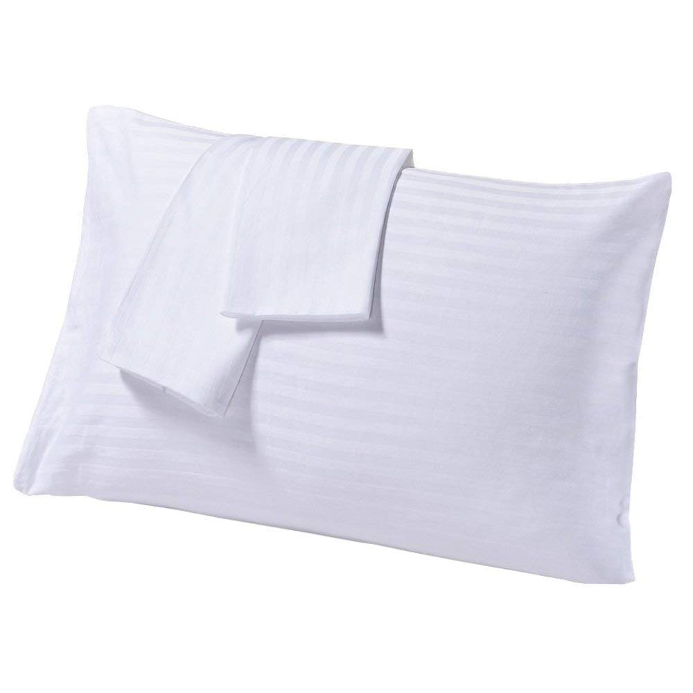 SC-Collection Set of 2 Travel Pillow Cases 14X20 White Striped with 100% Egyptian Cotton-450 Thread Count Quality Zipper Closer