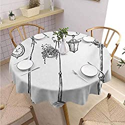 DILITECK Lantern Kids Round Tablecloth Classic Street Clocks Architectural Urban Devices Luminousness Drawing Printed Tablecloth Diameter 50 Charcoal Grey White