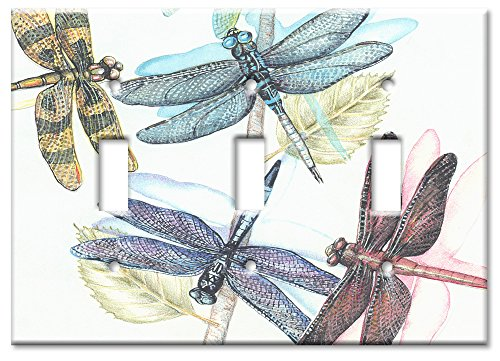 Art Plates - Dragonflies Switch Plate - Triple Toggle Switchplates Accessory