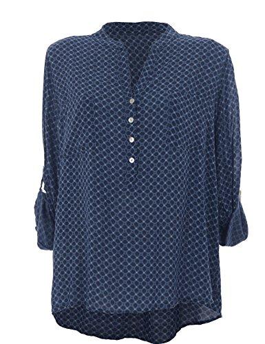 Moda Italy Camisas corte imperio Lunares cuello mao Manga Larga para mujer  Azul