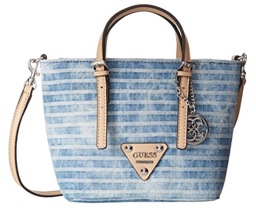 a6e68b9fa5a GUESS Delaney Denim Mini Tote Bag, Blue  Handbags  Amazon.com