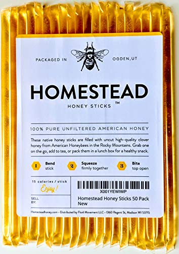 Homestead Honey Sticks, All Natural and Pure American Honey Stix Made with Real Clover Honey (20 Pack)