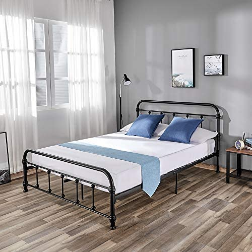 Queen Metal Bed Frame Platform Bed Headboard, No Box Spring Needed with Metal Slats and Vintage Bed Frames Footboard, Queen Size