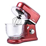 ingredient mixer - Betitay Stand Mixer 120V-60Hz/1400W, 4.0 QT Bowl, Glass Bowl with Mixing Beater, Egg Whisk, Dough Hook, and Silicone Brush (Red/Glass)
