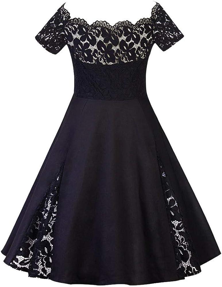 MRULIC Damen Vintage Cocktailkleid Retro Spitzen Schwingen Rockabilly Kleid Brautjungfernkleid Abendkleid