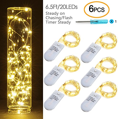 [6-PACK] Timer Fairy Lights 3 Modes Twinkle Lights with 20 LED Starry String Lights on 6.5ft Silver Wire,Fairy Lights Battery Powered by 2xCR2032 for Party,Wedding,Christmas Tabel Decor,Warm White by OakHaomie (Image #10)