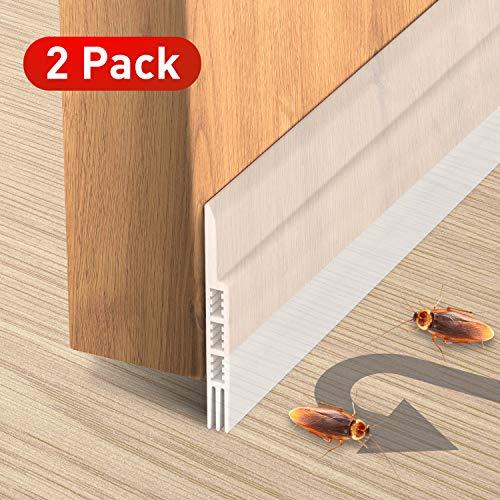 Holikme Door Draft Stopper 2 Pack Transparent 39-inch Under Door Draft Blocker Insulator Door Sweep Weather Stripping (Supplies Patio Building)