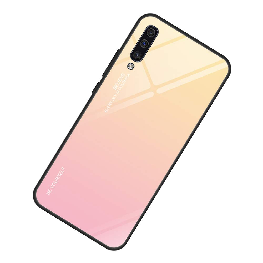 AIsoar Compatible with Galaxy A50 Colored Gradient Tempered Glass Case,Tempered Glass Back Cover + Soft TPU Bumper Frame Shockproof Anti-Scratch Protective Cover Shell (Pink + Yellow) by AIsoar