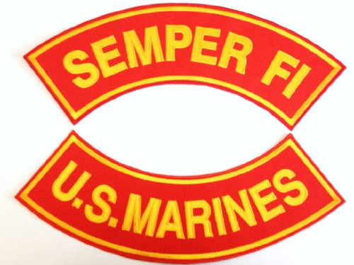 Patch Set - U.S. Marines (Scarlet and Gold) (Top Semper Fi) - (Bottom U.S. Marines) Rocker Back Patch Set. Measures: 11 X 3 Inches Large